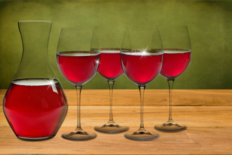 £14.99 instead of £97 (from Easygift Products) for a crystal wine carafe and 4 wine glasses - save 85%