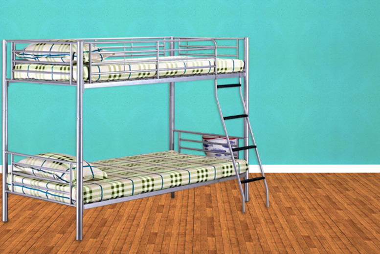 £99.95 instead of £209 (from Fishoom) for a gloss silver bunk bed - double the fun, make the most of your space and save 52%