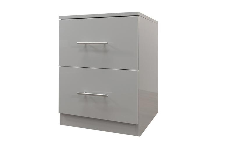 Image of 2-Drawer High-Gloss Grey Bedside | Living Social