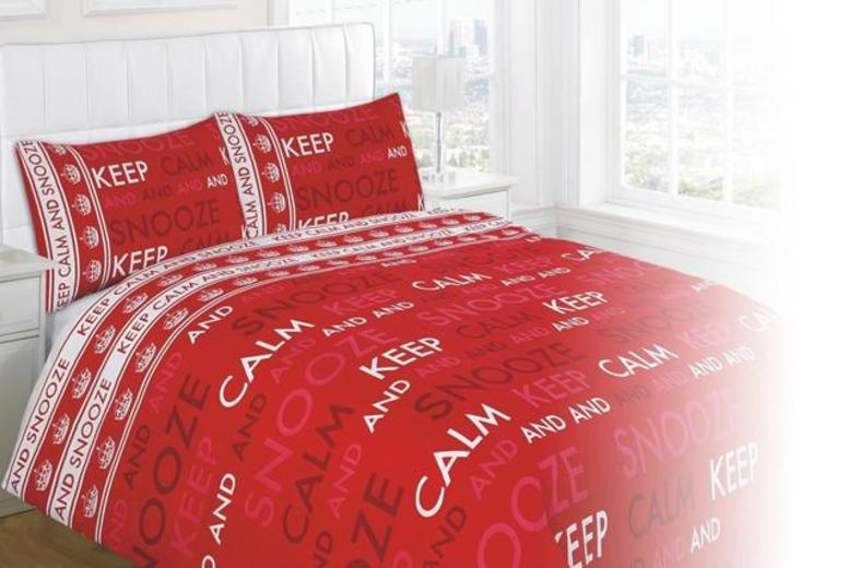 From £10 instead of up to £34.99 (from Groundlevel) for a 'Keep Calm & Snooze On' duvet set inc. pillowcase in a choice of colours - save up to 71%