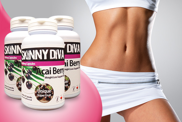 £8 instead of £19.99 (from Skinny Diva) for a 1-month* supply of acai capsules, £18 for a 3-month* supply - save up to 60% + DELIVERY INCLUDED