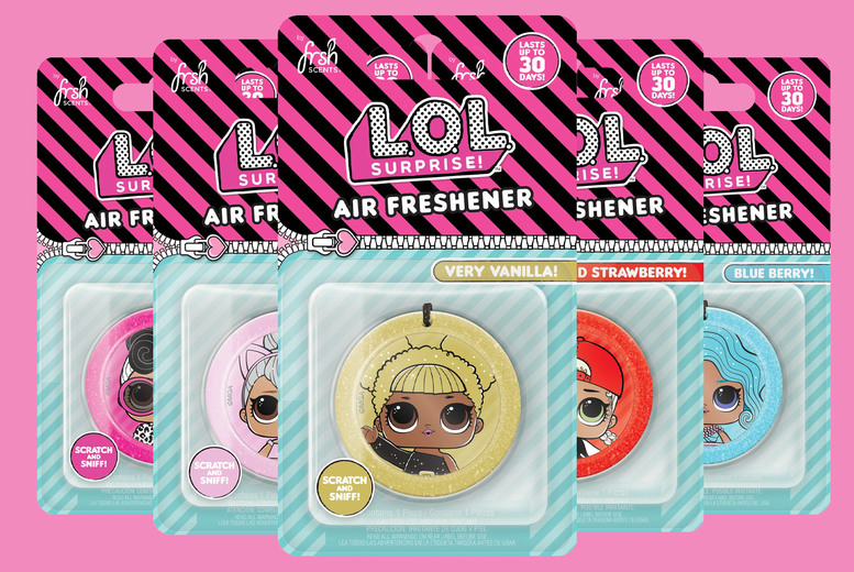 £9.99 for five LOL Surprise air fresheners in very cherry, blueberry, very vanilla, wild strawberry and cotton candy scents from JRP Distribution