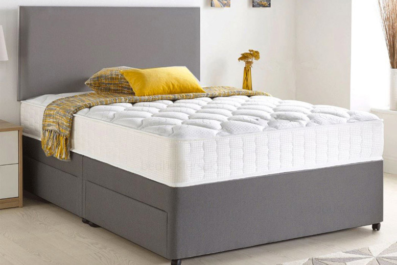 Image of Grey Chenille Divan Bed | Small | Living Social