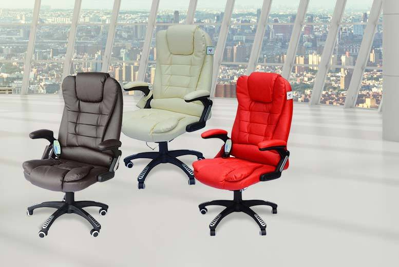 £79 instead of £199.99 (from Aosom) for a leather office chair with massage function - choose from red, cream and brown and save 60%