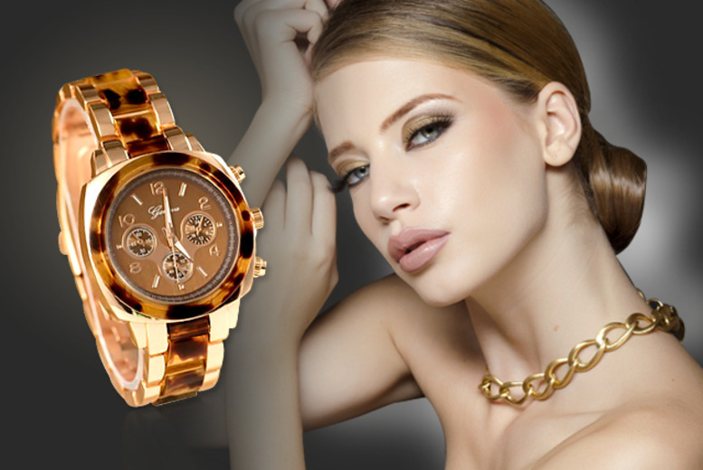 £12 instead of £39.99 (from Marcus Emporium) for a tortoise shell boyfriend watch with Geneva analogue display - save 70%