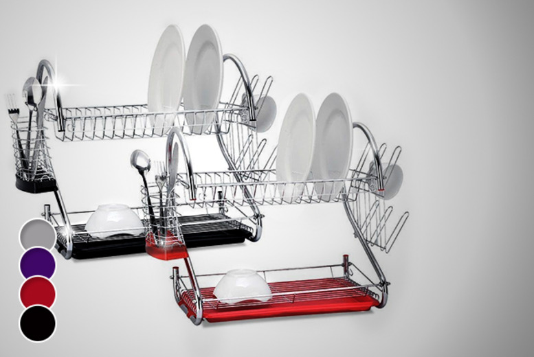 £9 instead of £36 (from Groundlevel) for a modern two-tier dish drainer with a black, red, purple or chrome under-tray - save 75%