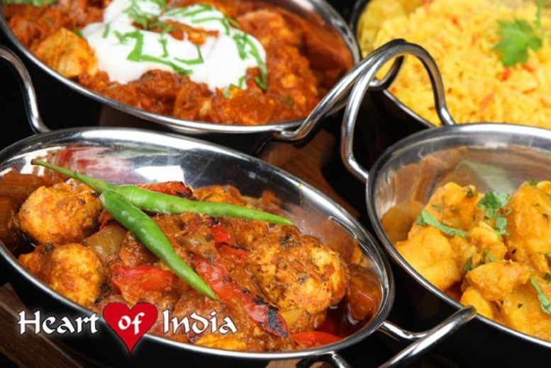 £14 instead of up to £38.20 for a 2-course Indian meal for 2, or £28 for 4 at Heart of India, Newcastle-under-Lyme - save up to 63%