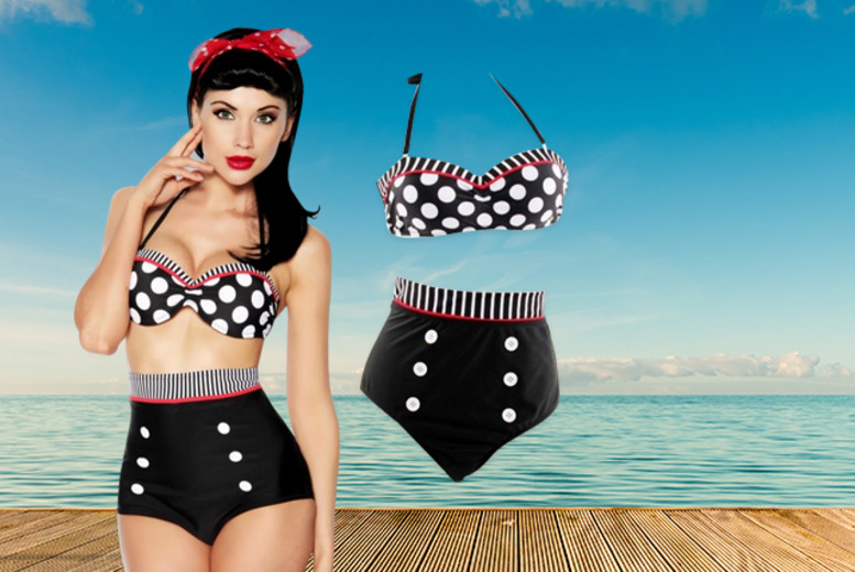 £18 instead of £59.99 (from Brand Labels) for a vintage pin-up style high-waisted bikini in a choice of patterns & colours - save 70%