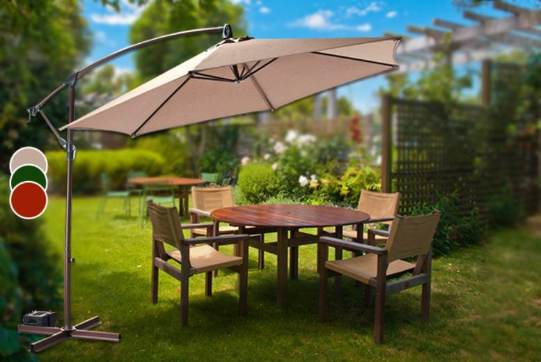 £59.99 instead of £138 (from Groundlevel) for a 3-metre banana parasol in a choice of green, cream or terracotta colours - save 57%