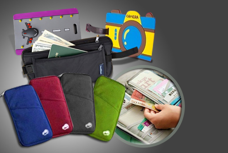 £9.99 instead of £49.99 (from Emyub) for a 4-piece travel accessory bundle inc. a passport holder, two luggage tags and a money belt - save 80%