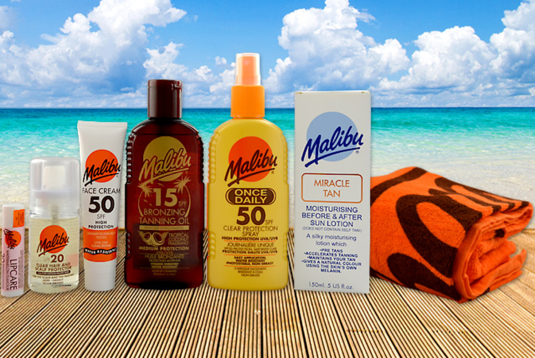 £18 instead of £32.23 (from Malibu Sun) for a 7-piece Malibu Sun holiday essentials kit – save 44%