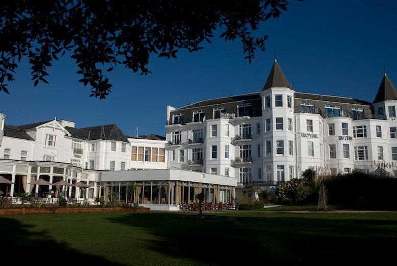 £109 (at Royal Bath Hotel, Bournemouth) for an overnight spa break 2 including 1 treatment each, breakfast and 3-course buffet dinner- save up to 47%