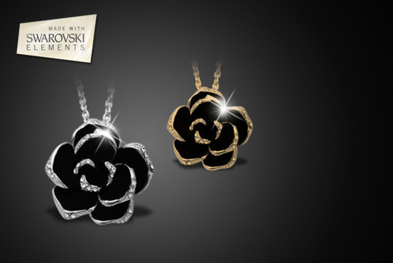 £10 instead of £49.99 (from Marcus Emporium) for a silver-plated or gold-plated Swarovski Elements black rose necklace - save 80%