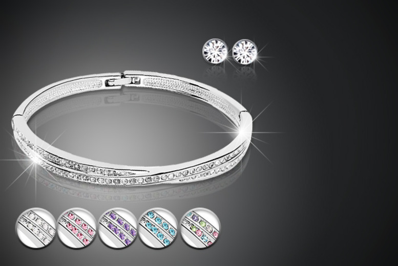 £12 instead of £54 (from Simply Jewellery) for a silver-plated cuff bangle and stud earring set with Swarovski Elements - save a sparkly 78%