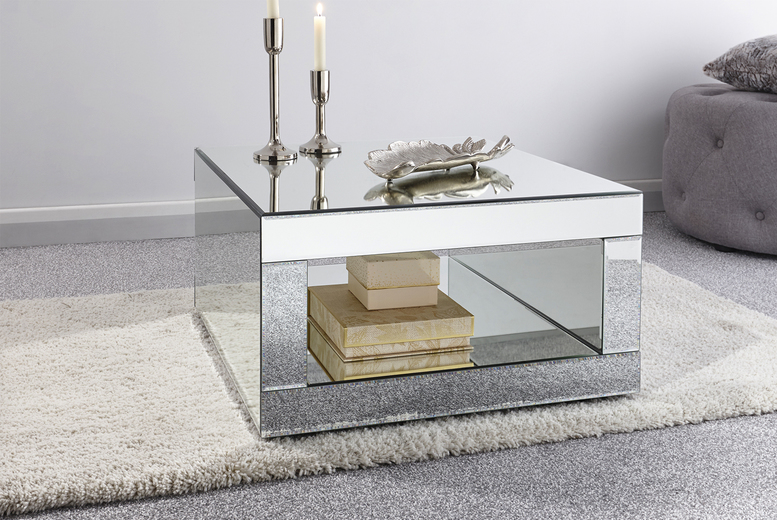 £129 for a Mykonos square mirrored coffee table – add a touch of class to your living room!