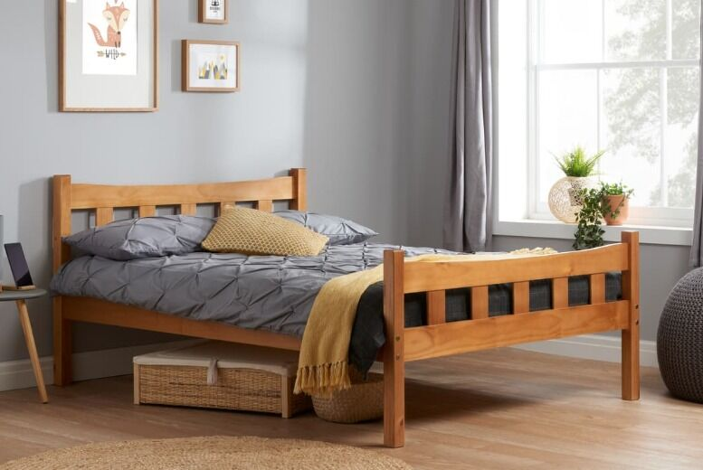 From £149 for an elegant antique pine 3ft single or 4ft6 double varnished pine slatted bed frame from FTA Furnishing – save up to 40%
