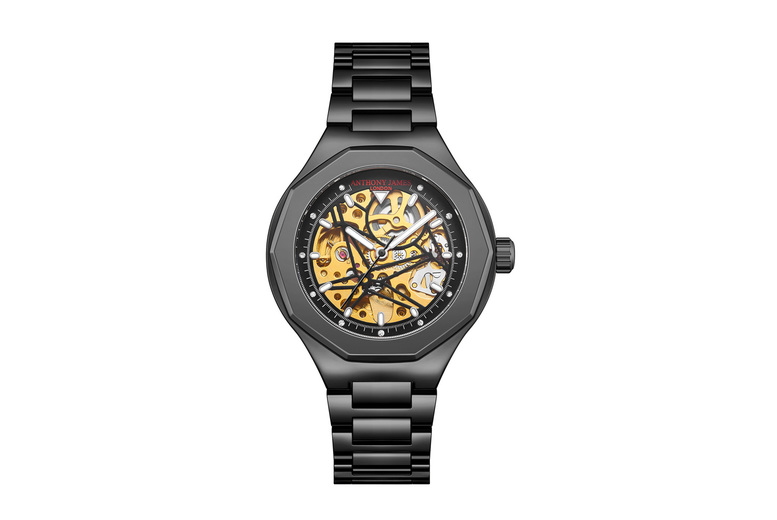 Image of Anthony James Skeleton Sports Watch | Silver | Living Social