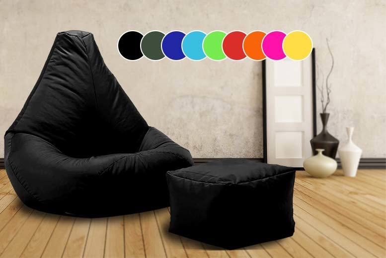 £28 instead of £99.99 (from UK Beanbags) for a highback beanbag with matching footstool, perfect for indoors and outdoors - choose from 10 bright colours and save 72%