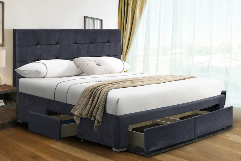 From £299 instead of £699.99 for a plush velvet four drawer bed from UK Furniture4U – choose your size, optional mattress and save up to 57%