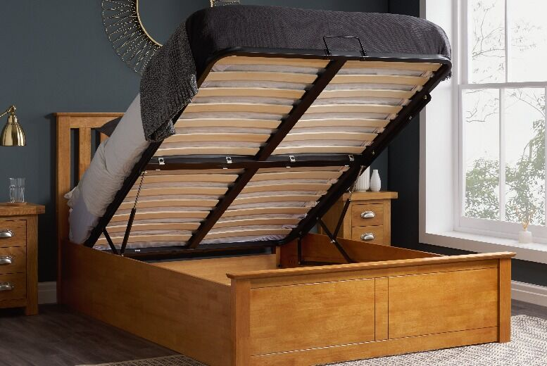 From £349 for an oak or white wooden ottoman storage bed 4ft 4ft6 or 5ft from FTA Furnishing – save up to 53%