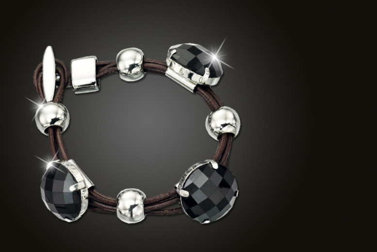 £9 for a silver and black Fiorelli multi-strand leather bracelet from Wowcher Direct + DELIVERY IS INCLUDED!