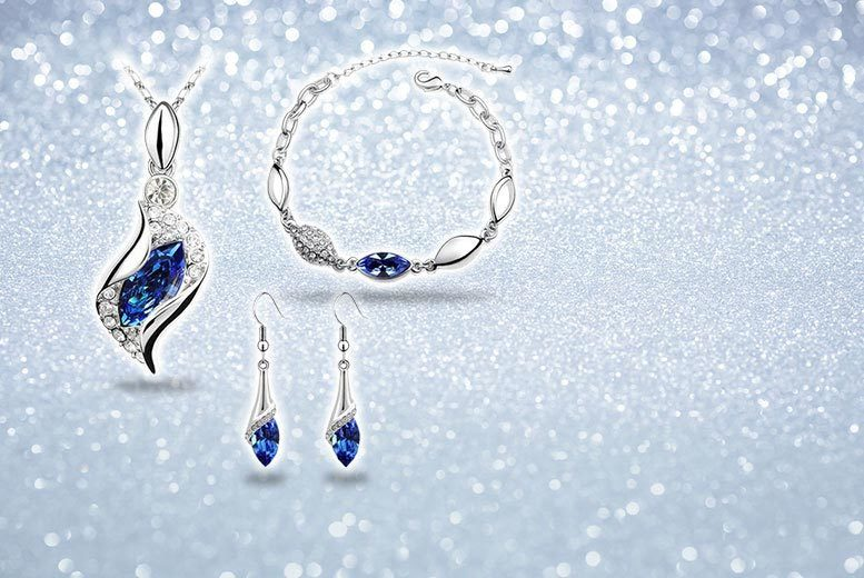 £12 instead of £149.99 (from Fakurma) for a crystal earring, necklace and bracelet set - choose from three colours and save 92%