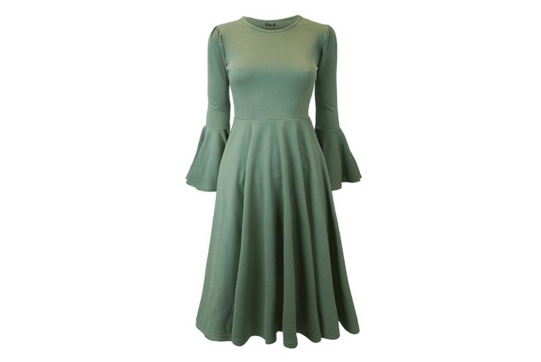 Image of Bell Sleeve Midi Skater Dress | Khaki | 8/18 UK | Living Social