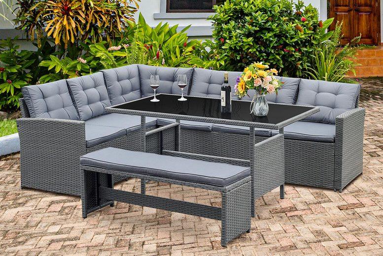 Image of 10-Seater Rattan Garden Furniture Set | Grey | Living Social