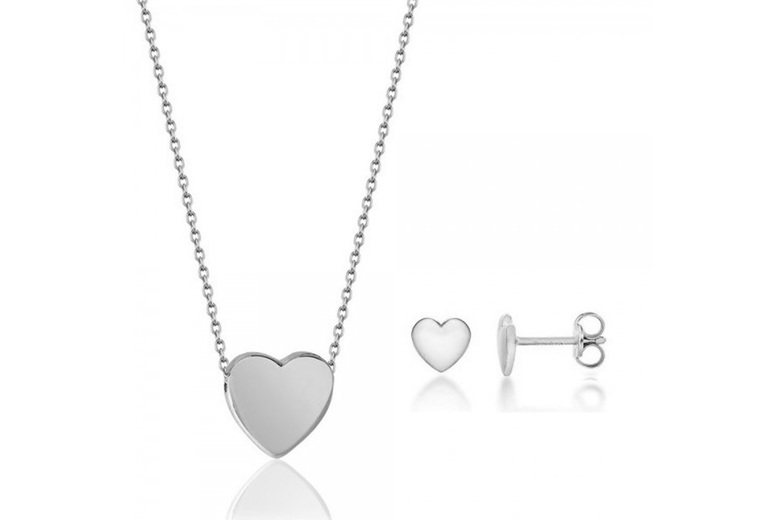 Image of Heart Plated Jewellery Set | Rose Gold | Living Social