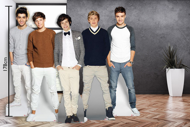 £18 instead of £29.60 for a life-size One Direction cut-out, or £35 for two from Wowcher Direct - get Harry Styles in your bedroom and save up to 39%