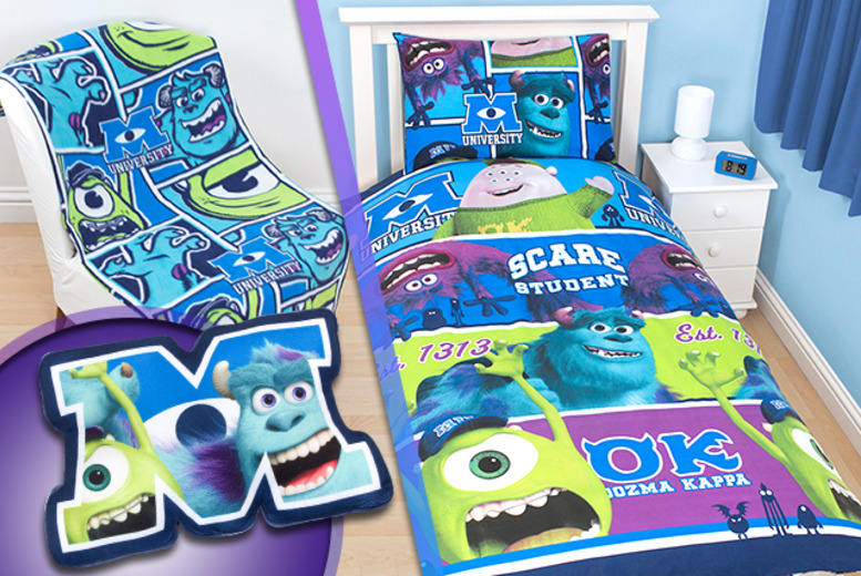 £11 for a Monsters University bedroom bundle inc. duvet cover, pillowcase, fleece blanket & cushion from from Wowcher Direct - save up to 64%