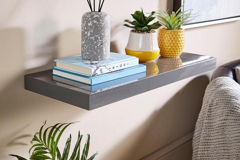 Image of 60Cm Or 80Cm Gloss Floating Shelf | Black | Living Social