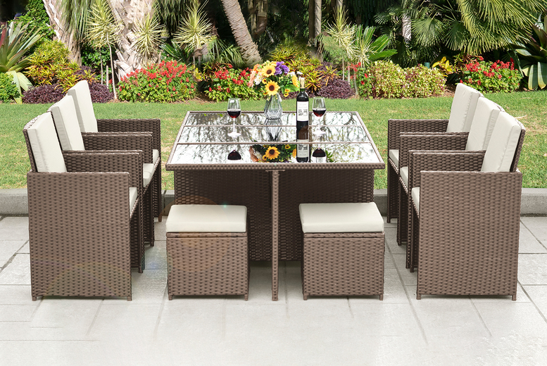 Image of 10-Seater Rattan Dining Set | Brown | Living Social
