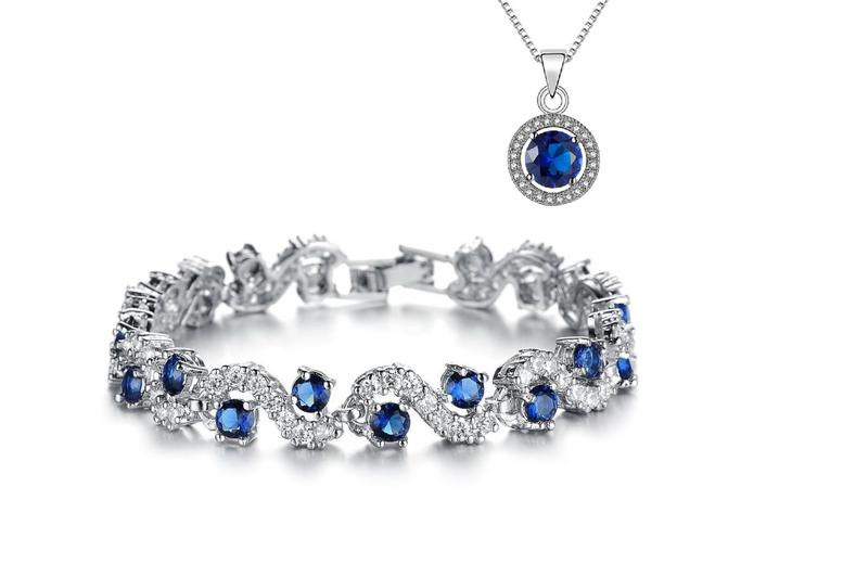 Image of Blue Tennis Bracelet & Pendant | Living Social