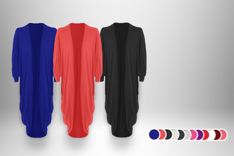 £8.99 instead of £32.99 (from MYO Fashion) for a long batwing cardigan in a choice of 13 colours, £15.99 for 2 - save up to 73%