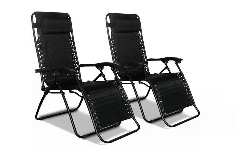 Image of 2 Folding Recliner Cushioned Garden Chairs | Black | Living Social
