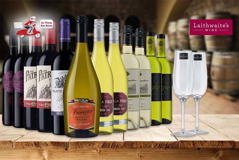 £39 (from Laithwaite's) for a 12-bottle selection of exclusive boutique wine plus two Champagne flutes - choose from three varieties and save up to 67%