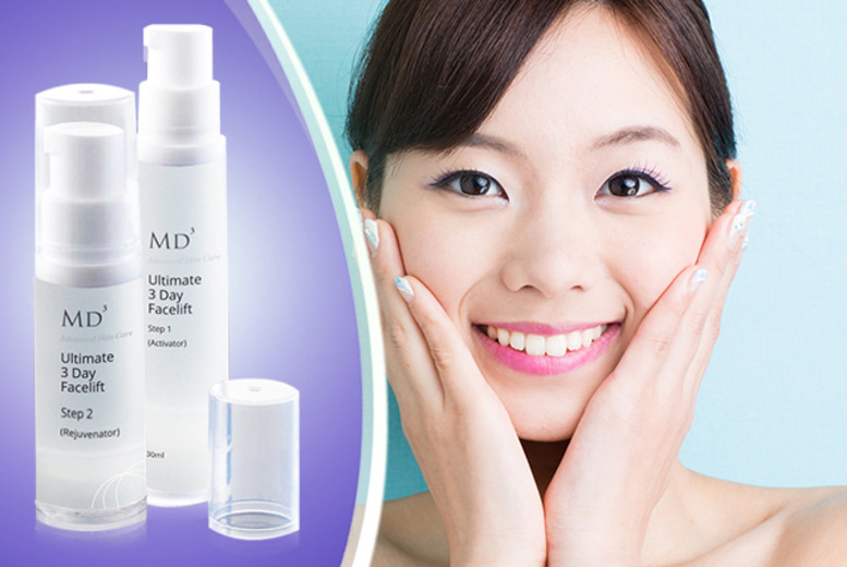 £19 instead of £69.99 (from Look Good Feel Fabulous) for an MD3 2pc 'Ultimate 3 Day Face Lift' kit - love your skin and save 73%