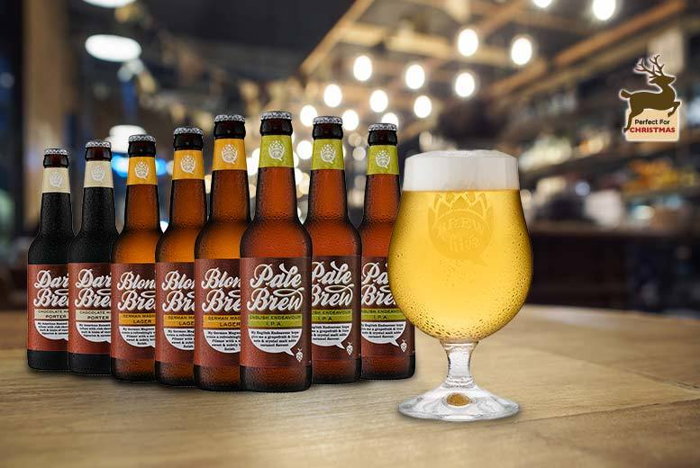 £9.99 instead of £22.95 for a set of eight beers and a crystal engraved beer glass from Brewhive - save 56%
