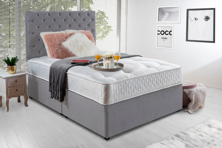 Image of Grey Chesterfield Divan Bed & Mattress | Small | Living Social