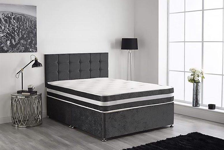 Image of Black Crush Velvet Divan Bed Set | Small | Living Social