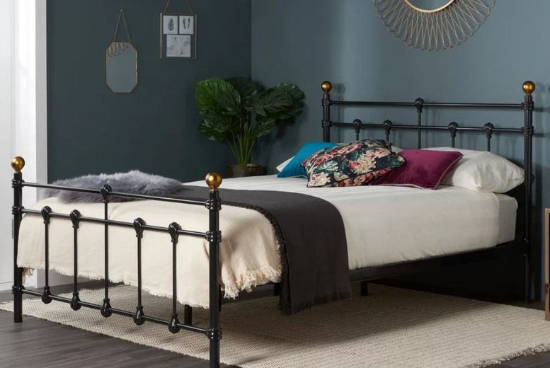 From £135 for a Gorgeous Black Antique Metal Bed Frame – 3 Sizes! from FTA Furnishing – save up to 66%