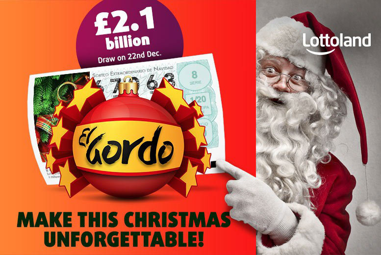 £5 instead of £19.99 for a bet in the World's Biggest Lottery - El Gordo Christmas Lottery from Lottoland – save 75%