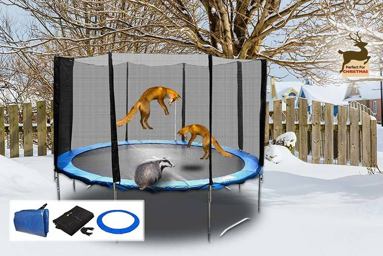 From £89 (from FDS) for a trampoline set with safety net enclosure, ladder, carry bag and rain cover- save up to 59%