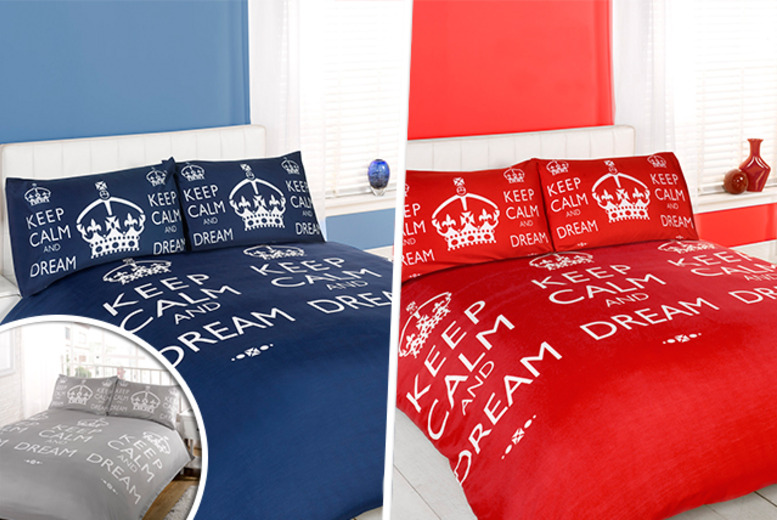 From £10 for a single, double, king or super king 'Keep Calm' duvet and pillow case set, or from £10 for a throw blanket from Wowcher Direct - save up to 52%