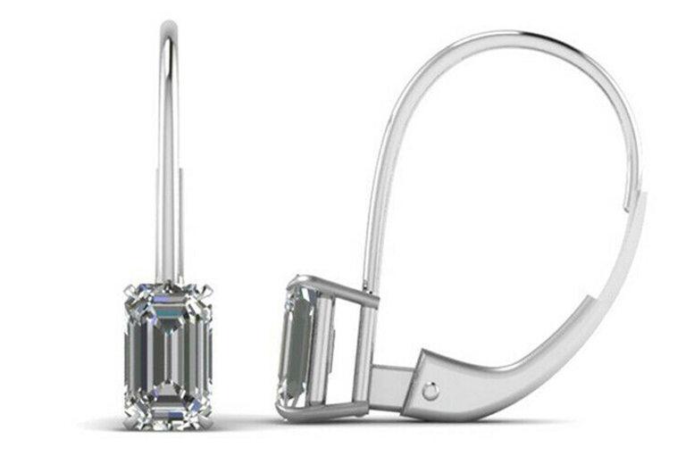 Image of Emerald Cut Crystal Drop Hoop Earrings | Silver | Living Social