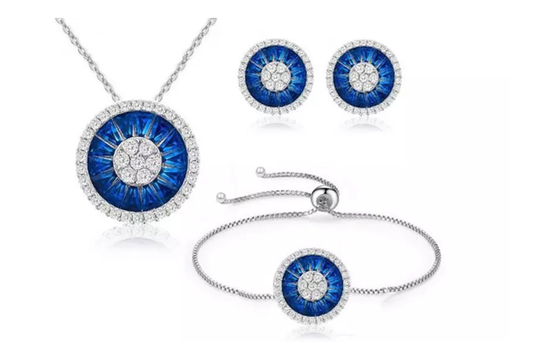 Image of Halo Cluster Jewellery Set | Blue | Living Social