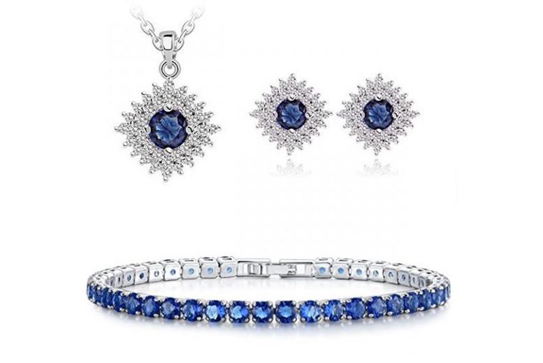 Image of Gemstone Jewellery Set | Silver | Living Social