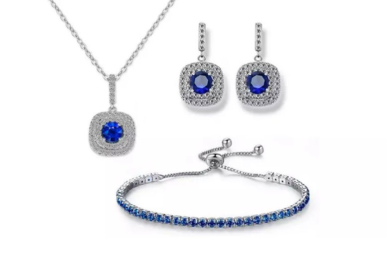 Image of Double Square Halo Jewellery Set | Silver | Living Social