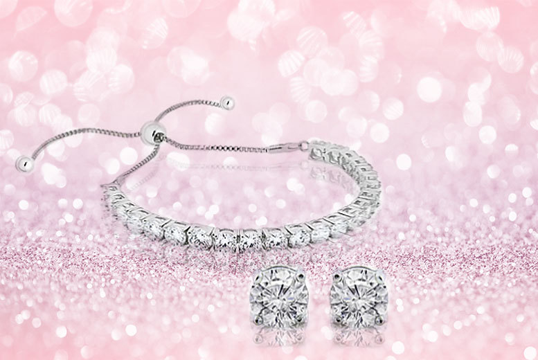 £22 instead of £399 (from Unlimited Joy) for an white gold plated tennis bracelet and earring set - save 94%